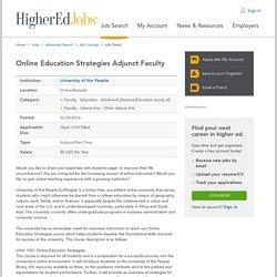 Online Education Strategies Adjunct Faculty