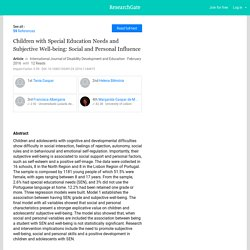 Children with Special Education Needs and Subjective Well-being: Social and Personal Influence