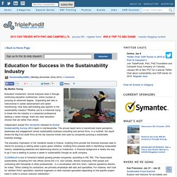 Education for Success in the Sustainability Industry