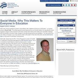 Social Media: Why This Matters To Everyone In Education