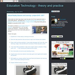 Virtual Reality Glasses and Learning - project 2015 - 2017