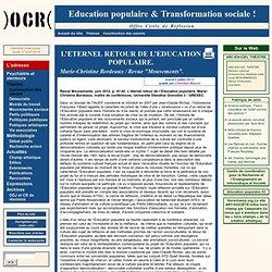 L'ETERNEL RETOUR DE L'EDUCATION POPULAIRE.