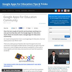 Google Apps For Education Community Launch
