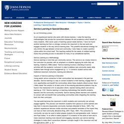 School of Education at Johns Hopkins University-Service Learning in Special Education