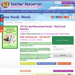 101 Fun And Educational Vocab / Word Card Activities