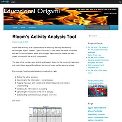 Bloom's Activity Analysis Tool | Educational Origami