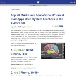 Top 20 Must-Have Educational iPhone & iPad Apps Used By Real Teachers in the Classroom - iPhone app article - Shara Karasic