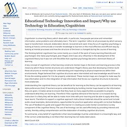 Educational Technology Innovation and Impact/Why use Technology in Education/Cognitivism - Wikibooks, open books for an open world