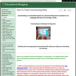 Educational-Blogging - How To Teach Commenting Skills