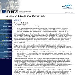Journal of Educational Controversy - Article: Return of the Deficit