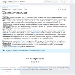 s Python Class - Google's Python Class - Google Code