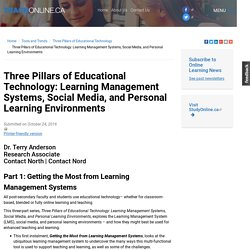 Three Pillars of Educational Technology: Learning Management Systems, Social Media, and Personal Learning Environments
