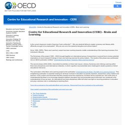 Centre for Educational Research and Innovation (CERI) - Brain and Learning - OECD