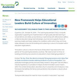New Framework Helps Educational Leaders Build Culture of Innovation - Press Releases