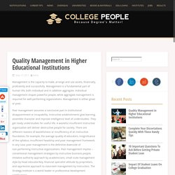 Quality Management in Higher Educational Institutions