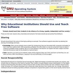 Pourquoi l'éducation doit se servir de logiciel libre et l'enseigner - Projet GNU - Free Software Foundation