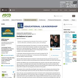 Educational Leadership:Do Students Care About Learning?:Invitations to Learn