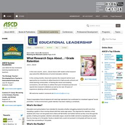 Educational Leadership:Reaching the Reluctant Learner:Grade Retention
