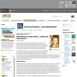 Educational Leadership:Multiple Measures:Balanced Assessment