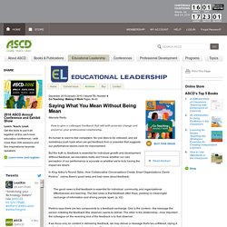 Educational Leadership:Co-Teaching: Making It Work:Saying What You Mean Without Being Mean