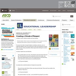 Educational Leadership:Promoting Respectful Schools:Creating a Climate of Respect