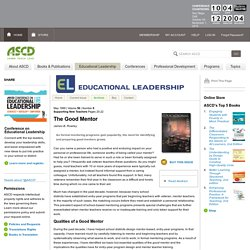 Educational Leadership:Supporting New Teachers:The Good Mentor
