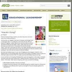 "Educational Leadership:Feedback for Learning:""How Am I Doing?"""