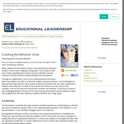 Educational Leadership:Students Who Challenge Us:Cracking the Behavior Code
