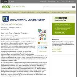 Educational Leadership:Creativity Now!:Learning from Creative Teachers