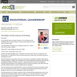 Poverty and Learning:The Myth of the Culture of Poverty