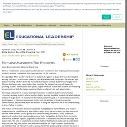 Educational Leadership:Giving Students Ownership of Learning:Formative Assessment That Empowers
