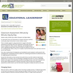 Educational Leadership:Assessment to Promote Learning:Classroom Assessment: Minute by Minute, Day by Day
