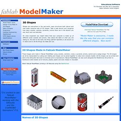 3D Shapes - Make models using 3D Shapes with the educational software FabLab ModelMaker
