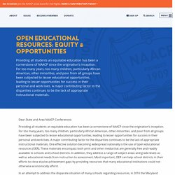Open Educational Resources: Equity & Opportunities