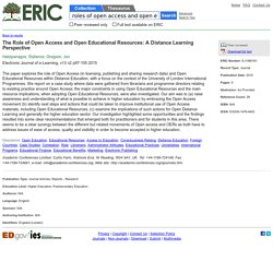 The Role of Open Access and Open Educational Resources: A Distance Learning Perspective, Electronic Journal of e-Learning, 2015