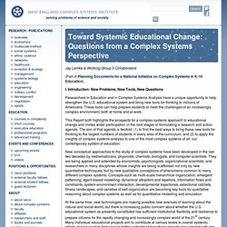 Toward Systemic Educational Change: Questions from a Complex Systems Perspective