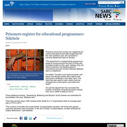 Prisoners register for educational programmes: Ndebele:Sunday 19 January 2014