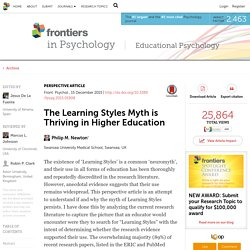 The Learning Styles myth is thriving in higher education