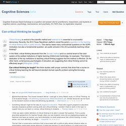 educational psychology - Can critical thinking be taught? - Cognitive Sciences Beta - Stack Exchange