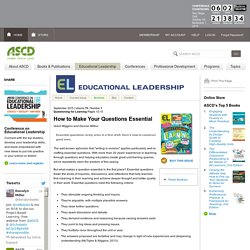 Educational Leadership:Questioning for Learning:How to Make Your Questions Essential