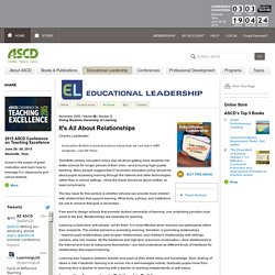 Educational Leadership:Giving Students Ownership of Learning:It's All About Relationships