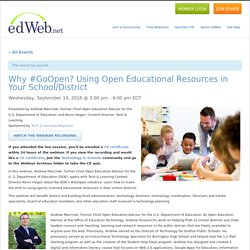 Why #GoOpen? Using Open Educational Resources in Your School/District