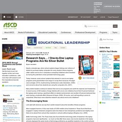 Educational Leadership:Teaching Screenagers:One-to-One Laptop Programs Are No Silver Bullet
