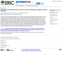 Educational Technology Research Journals: Journal of Computing in Higher Education, 2003-2012, Educational Technology, 2015