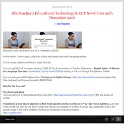 Nik Peachey's Educational Technology & ELT Newsletter 29th December 2016