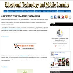 6 Important Wikipedia Tools for Teachers