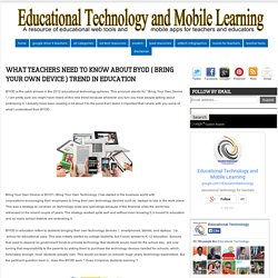 What Teachers Need to Know about BYOD ( Bring Your Own Device ) Trend in Education