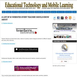 A List of 16 Websites Every Teacher should Know about