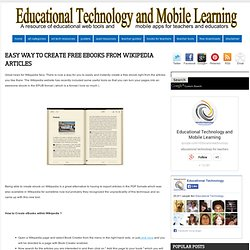 Easy Way to Create Free eBooks from Wikipedia Articles