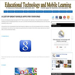 A List of Great Google Apps for your iPad